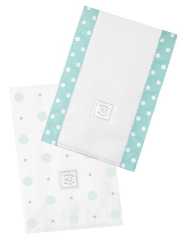 SwaddleDesigns Baby Burpies, Set de 2 Linges Protège Épaule Coton, Grands Pois Mini Pois, SeaCrystal