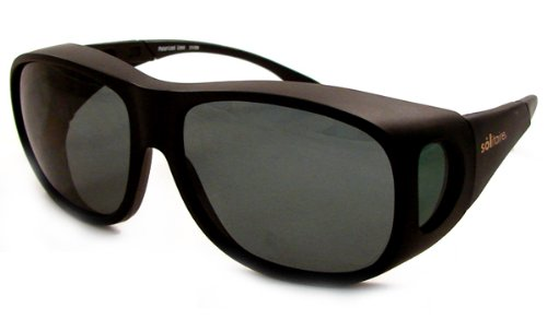 f44af80103d Solar Shields Fits-Over Sunglasses LARGE Frame  Matte Black Lens  Grey Green