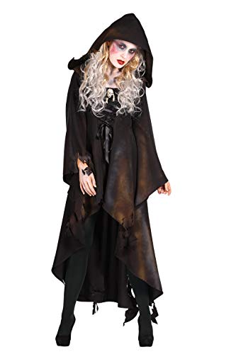 Damen Horror-Kutte Deluxe Piraten-Kostüm Braun mit Kapuze für Fasching, Karneval und Halloween (Deluxe Damen Piraten Kostüm)