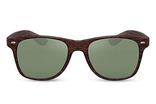Cheapass Sonnenbrille Wayfarer Braun Grün Holz-Muster Natur-Optik Nerd-Brille UV-400 Plastik Damen...