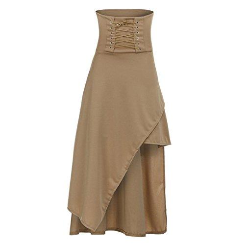 Preisvergleich Produktbild Ba Zha Hei röcke Fashion Womens Sommer Gefaltete Röcke High Taille Knielangen Damen Knielange Asymmetrischer Gummibund Ausgestellter Gothic Lolita Riemen Halbhohe Unregelmäßiges Rock (Khaki, S)