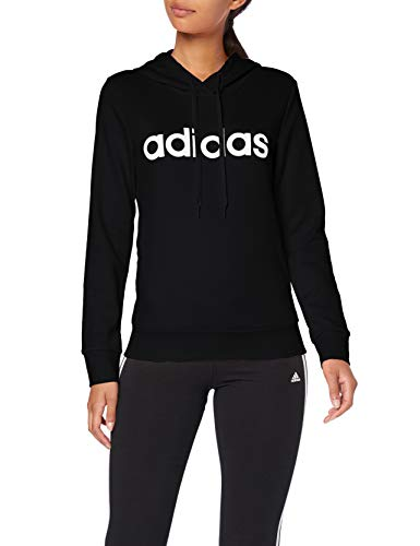 adidas Damen Essentials Linear Over Head Hoody, Black/White, L Tennis-damen-sweatshirt