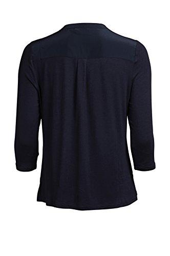Object Damen 3/4 Arm Shirt mit Knopfleiste   Pulli mit Knöpfen   Langarm-shirt leichtes Material Marine