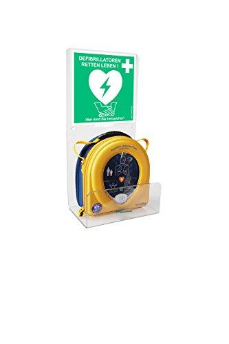 MedX5 Defibrillator (AED) Plexiglas Wandhalterung Halter universal für alle Defis mit Standortaufkleber