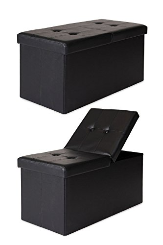 Schwarz Leder Cube (dibea SO00470, Sitzhocker Kunstleder, Sitzbank mit Klappdeckel, 76 x 38 x 38 cm, schwarz)