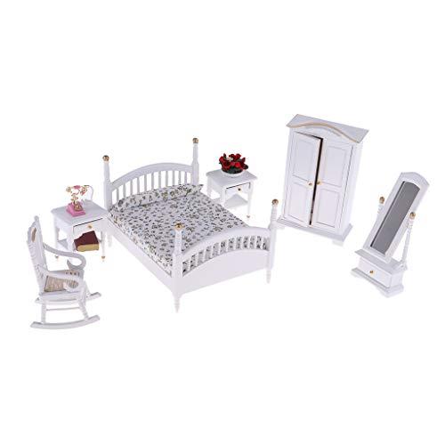 perfeclan 6-TLG Miniatur Puppenmöbel Schlafzimmer Möbel Zubehör Set für 1:12 Puppenstube Dekoration Zubehör - C - Schlafzimmer-möbel-zubehör