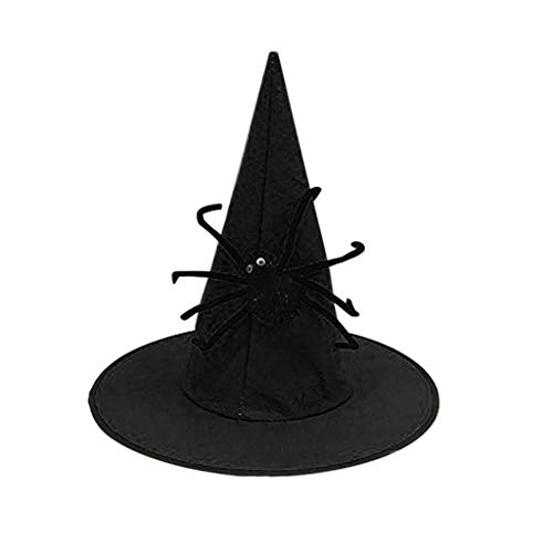 PLOT Halloween Hexenhut für Damen Magic Hat Party Spielzeug Cosplay Kostüme für Erwachsene Magician Schwarz Deluxe Sharp Tip Mützen Hüte mit Spinne Hexenhüte - Deluxe Zauberer Verkleiden Kostüm