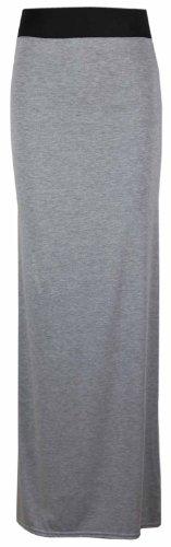 Purple Hanger - Maxi Jupe Longue Contraste Femme Taille Élastique Uni Eté Gris clair