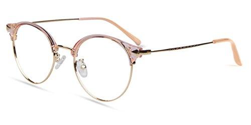 Zinff S1420 Geek Chic Damen Brille Retro Vintage Rund brille Clear Linsebreite 50mm mit Blaulicht-Filter Rosa