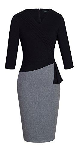 homeyee-womens-elegant-v-neck-patchwork-sleeve-business-dress-b333-uk-8-size-s-black-grid