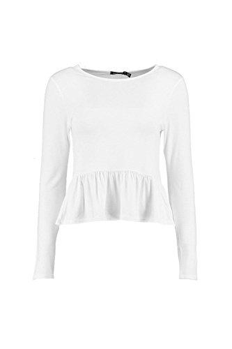 blanc Femmes Lilly Top À Ourlet Volanté Et Manches Longues Blanc