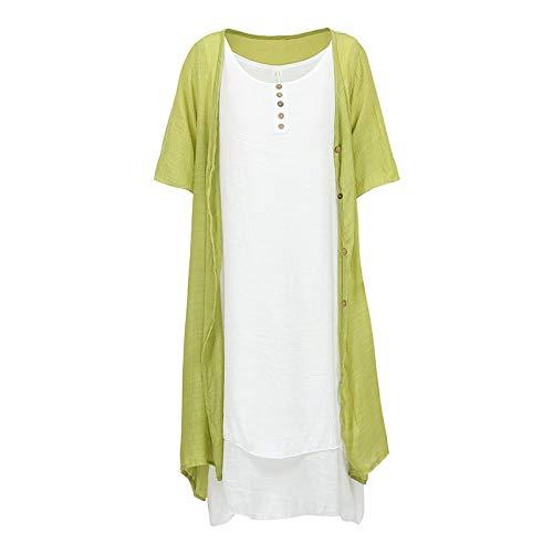 Mensdxa abito da donna a due pezzi abito a maniche lunghe senza maniche elegante vestito longuette vestito estivo con cardigan abiti vintage completo da abito 5xl verde