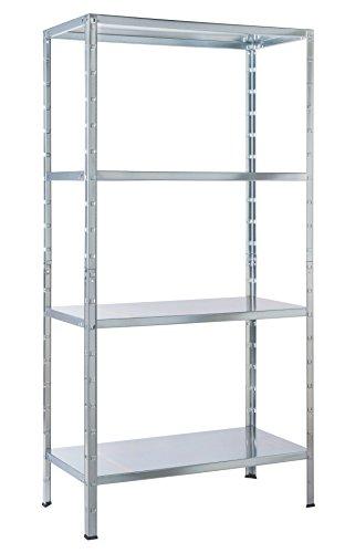 Schulte Regal Steckregal Metall, Traglast 200 kg, 4 Böden, 1 Stück, 137 x 75 cm, verzinkt, 4056397001652