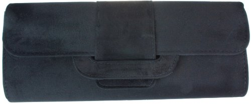 Girly HandBags Black Suede Clutch Bag Large Charcoal Gunmetal Dark Suedette Hard Case Licorice - Black - W 11 ,H 5.5 ,D 2 inches