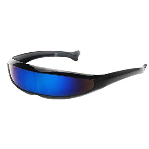 IPOTCH Männer Frauen Futuristische Partybrille Sonnenbrille Verspiegelte Alien - Schwarz Blau