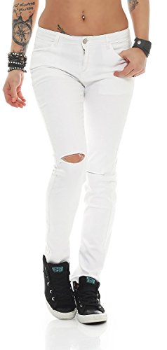 Fashion4Young - Jeans - Femme bleu Schwarz XS=36 Weiß