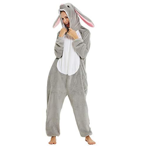 CozofLuv Tier Pyjamas Kostüm Nachtwäsche Cosplay Kostüme Einhorn Rentier Pyjamas für Erwachsene Anzug Outfit (Hase, L(168-178cm))
