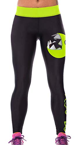 GO HEAVY Damen Motiv Yoga Sportleggings Fitness Gym Tights Pants Allover Print Pacmen - One Size - Go Active Pants
