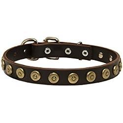 "Gorgeous Leder Hundehalsband mit gepunktete Messing–Kreise–""Twice As Nice–2,5cm (25mm) breit"