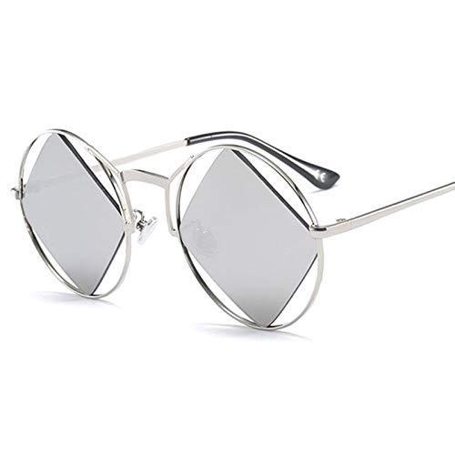 GFF Einzigartige runde Sonnenbrille Männer Frauen Silber Spiegel schneiden Raute 46420 Vintage-Marke Brille Mode UV400