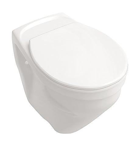 Wand-WC-Set +6 cm | Erhöhtes WC | Weiß | Inklusive WC-Sitz | Für Senioren und große Menschen | Tiefspüler