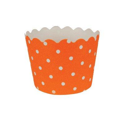 Orangene Cupcake-Backförmchen mit Weißen Pünktchen ()