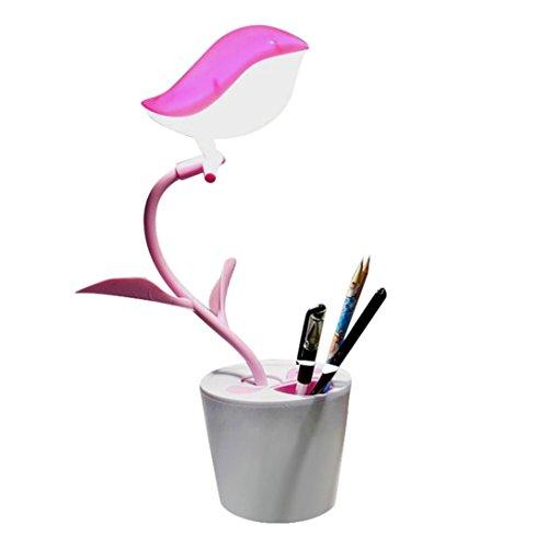 lámparas de escritorio juvenil para niños Sannysis Lámpara LED ajustable Puerto USB cargar, lámpara de trabajo con Portalápices Soporte para bolígrafo, placentera para los ojos (rosa)