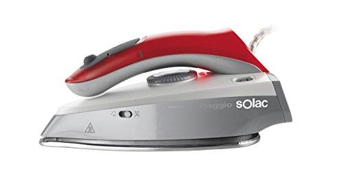 Solac PV1651 Plancha de viaje, Bi-tensión, mango plegable, 1000 W, Gris y roja