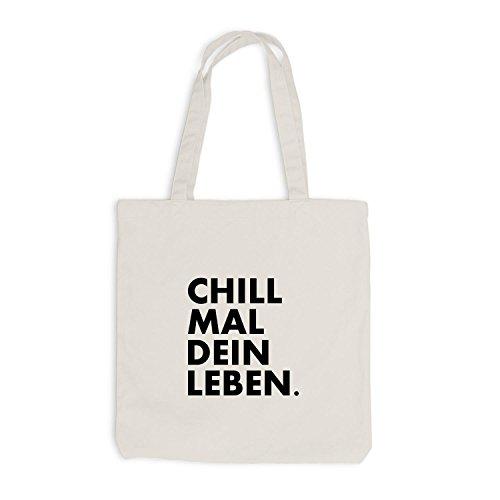 Jutebeutel - Chill mal dein Leben - Chilln Relax Weed Beige