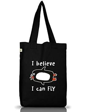 Lustiger Jutebeutel Stoffbeutel Earth Positive mit I Believe I Can Fly Motiv Premium
