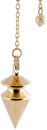 Berk PE-1361 Pendule plaqué or en laiton avec chaîne pour radiesthésie