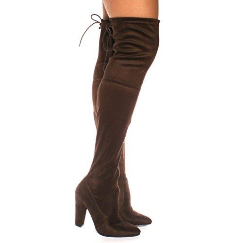 Stivali da donna con lacci, sopra il ginocchio, elasticizzati, da sera Marrone