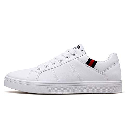 Classic Designer Men Casual Shoes Fashion Sneakers Leather Soft Rubber Men Flats Shoes White Mens Shoes Footwear White 8.5