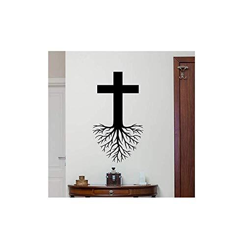 Wandaufkleber Applikation Tapetekreuz Wurzeln Wandtattoo Christlicher Gott Jesus Christus Religion Vinyl Aufkleber Kirche Wand-Dekor Kinder Schlafzimmer Wandaufkleber 58 * 32 Cm (Jesus Kinder Wandtattoos)