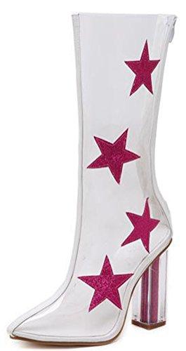 Aisun Damen Schick Spitze Zehe Geschlossen Durchsichtig Sterne Muster Pumps Stiefel Rosa