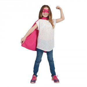 Childs Pink Super Hero Cape & Mask Fancy Dress Costume