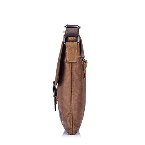 Gracosy Kleine Umhängetasche Herren echtem Büffel-Leder Tasche Schultertasche im Vintage Look für Alltag Outdoor Sports Dunkelblau Kaffee