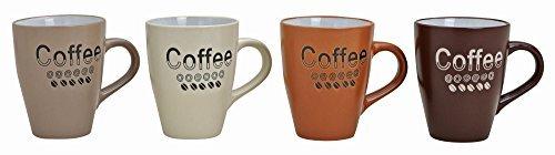 Kaffeebecher 4-fach sortiert, in Erdtönen, mit Aufschrift/Dekor Coffee, aus Keramik, Höhe: 11 cm, Fassungsvermögen 250 ml (Tee Verziert Print)