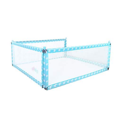 Bettgitter JY Blue Vertical Lift Extra Lange Kids, eine Kombination von DREI Seiten Baby Splitterschutz (Color : Blue, Size : 180cm+200cm+200cm)