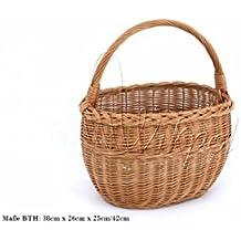 Cesta de la compra de mimbre Cesta para botellas (Seta cesta trenzada (38/26/25–42cm Asa de cesta de mimbre K1–008