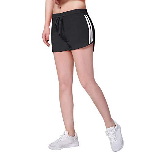 Leinen-look Tunnelzug Shorts (Lonshell Damen Sport Kurz Leggings Kurz Yoga Tights Shorts Blickdicht Laufshorts Atmungsaktiv Sweatpants Sport Fitness Bermuda-Shorts Sommer Tunnelzug Turnhose)