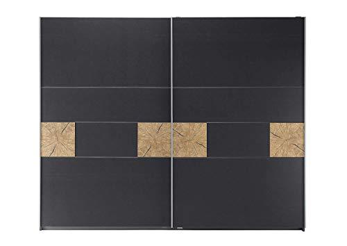 Avanti trendstore - rona - armadio spazioso con 2 ante scorrevoli, in legno laminato di grigio scuro metallizzato e quercia riviera decoro, dimensioni: lap 261x210x59 cm