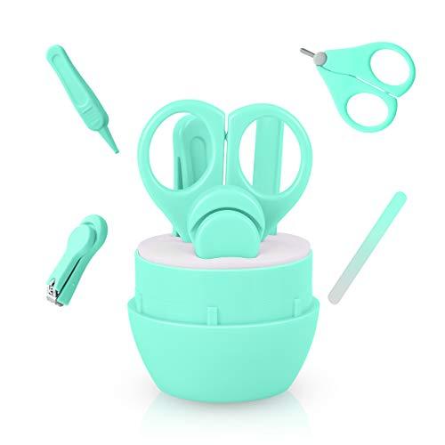 Babypflege 4 in 1 Set, Funkprofi Baby Sicherheit Nagelschere mit Nagelfeile, Pinzette und Nagelknipser Blau für Maniküre und Pediküre - grün