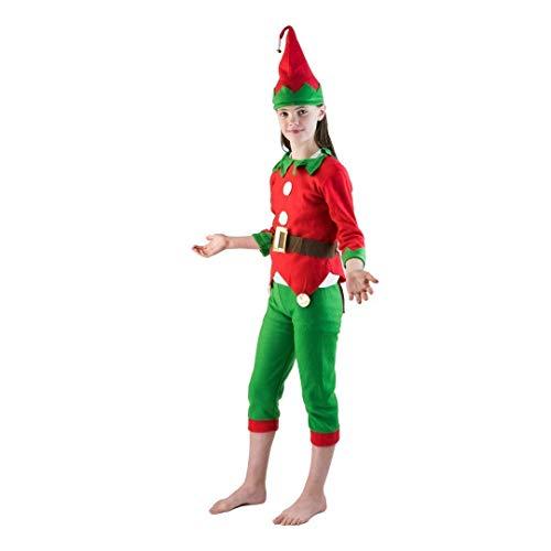 Elf Kostüm Buddy - Bodysocks® Knecht Rubrecht Elfen Kostüm für Kinder (7-9 Jahre)