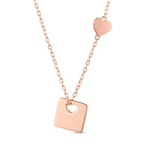 Sweetiee donna collana in argento 925, ciondolo quadrato con cuore e zircone aaa, due colori disponibili, platino, oro rosa, 40cm