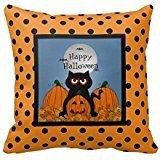 Happy Halloween Kitty Throw Pillow Case 18