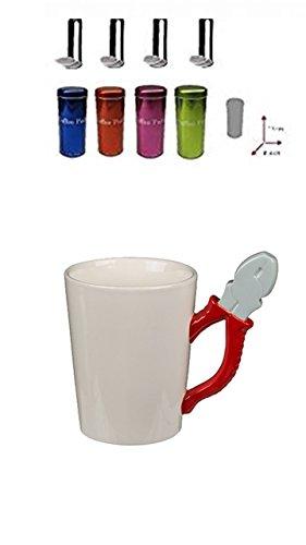 Origineller Keramik-Becher Kaffeetasse Handwerker Tasse mit Werkzeug-Griff Kombizange + 4 Pad Dosen...