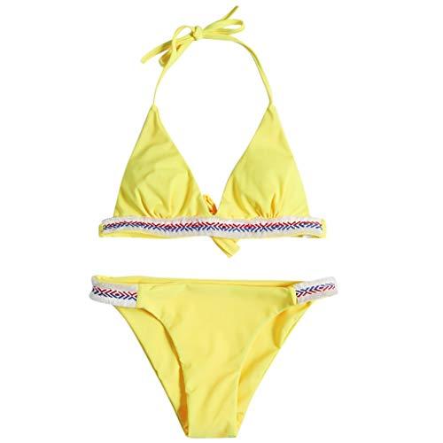 MRENVWS Fashion Women Sexy Swimsuit V-Neck Bandage Camisole Bikini Set Beachwear