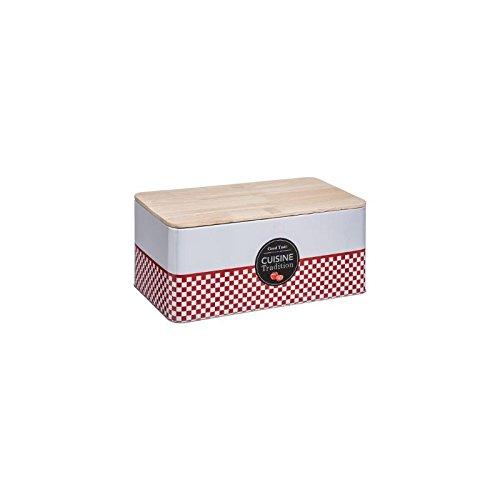 Secret de Gourmet Brotkasten aus Metall und Holz, traditionell L. 31 x l. 17 x x H 13.3 cm weiß/rot