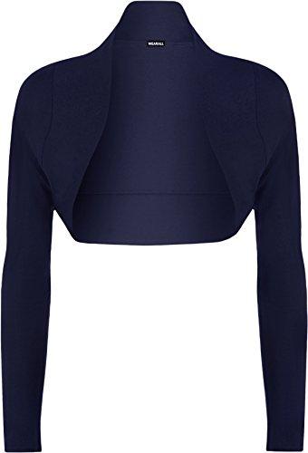 WearAll Damen Bolero langarm Top - Blau - 36-38 (Stretch-lange Ärmel)